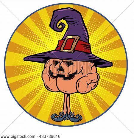 Halloween Pumpkin Holiday Human Brain Character, Smart Wise