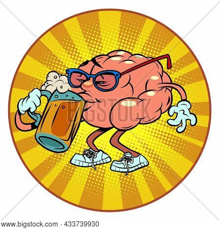 Drinks Beer At The Bar Human Brain Character, Smart Wise
