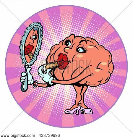 A Woman Paints Her Lips In Front Of A Mirror, Makeup Human Brain Character, Smart Wise