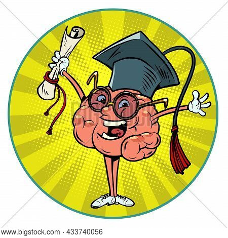 A College Or University Graduate With A Diploma In Uniform Human Brain Character, Smart Wise