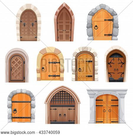 Metal And Wooden Medieval Doors And Gates. Castle Entries Cartoon Vector Design With Stone Arched Do