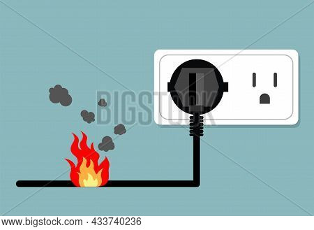 Power Plug Is Shock Wire Burnt ,  Circuit, Safety First, Vector Design