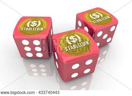 Stablecoin Cryptocurrency Bet Gamble Invest Red Dice 3d Illustration