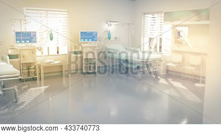 Hi-tech Hospital Room, Medical Curing . Fictitious Abstract 3d Rendering