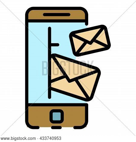 Smartphone Incoming Letters Icon. Outline Smartphone Incoming Letters Vector Icon Color Flat Isolate