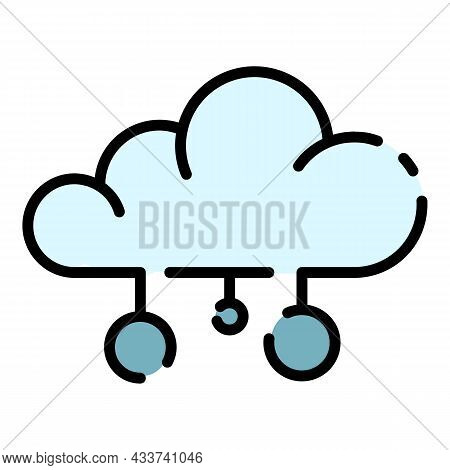Cloud Server Icon. Outline Cloud Server Vector Icon Color Flat Isolated