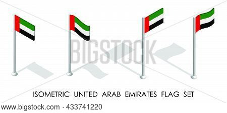 Isometric Flag Of United Arab Emirates In Static Position And In Motion On Flagpole. 3d Vector