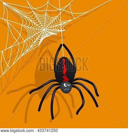 Angry Cartoon Spider Descending Spider Web. Character For Halloween. Colored Vector For Background O