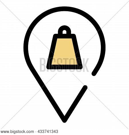 Mall Map Pin Icon. Outline Mall Map Pin Vector Icon Color Flat Isolated