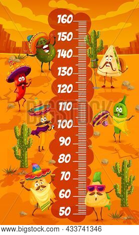 Cartoon Mexican Food Characters In Desert On Kids Height Chart. Children Growth Meter, Child Height