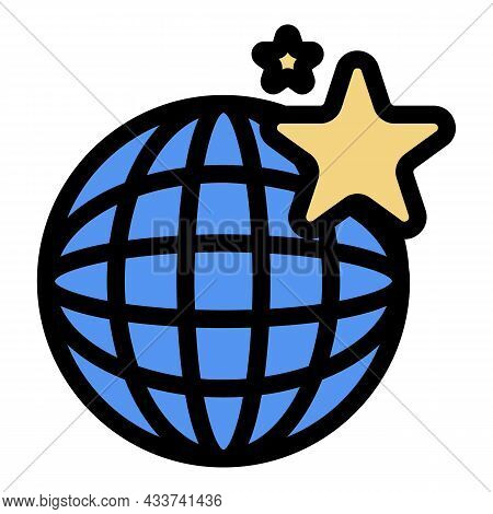 Global Mall Icon. Outline Global Mall Vector Icon Color Flat Isolated