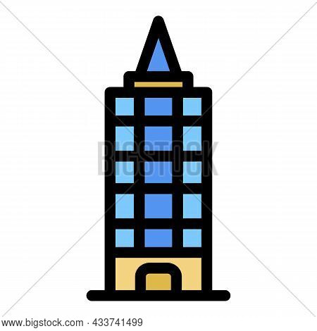Mall Sky Tower Icon. Outline Mall Sky Tower Vector Icon Color Flat Isolated