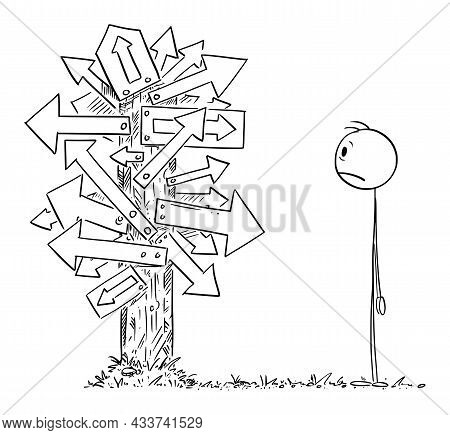 Person Or Businessman Looking At Confusing Signpost With Many Arrows, Decide And Choose Right Way ,