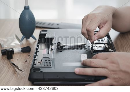 Computer Literacy Repair Men Hands Use Screwdriver Remove Nut Of Hard Disk Of Laptop For Check And R