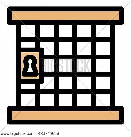 Judge Prison Gate Icon. Outline Judge Prison Gate Vector Icon Color Flat Isolated