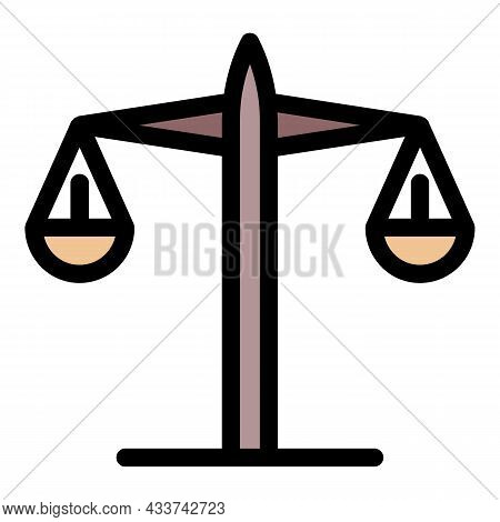 Judge Balance Icon. Outline Judge Balance Vector Icon Color Flat Isolated