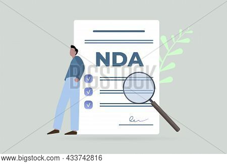 Nda - Non-disclosure Agreement Document Concept Illustration. Employee And Employer Contracts. Agree