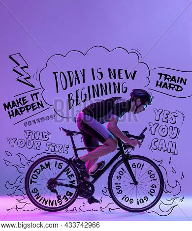 Creative Collage With Male Cyclist Riding A Bicycle Isolated Against Neon Background With Black Lett