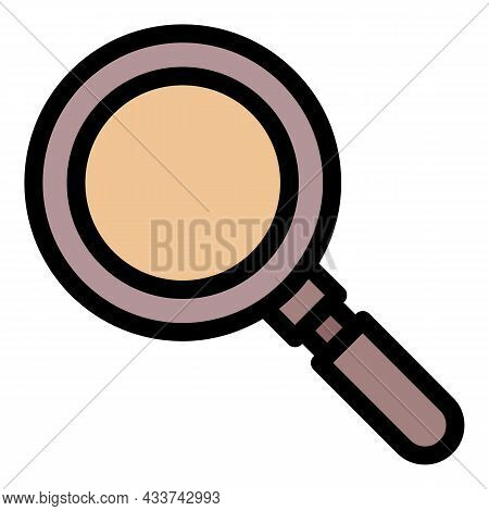 Police Magnify Glass Icon. Outline Police Magnify Glass Vector Icon Color Flat Isolated