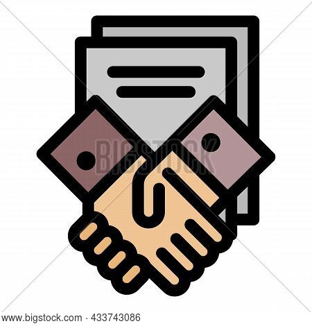 Law Handshake Icon. Outline Law Handshake Vector Icon Color Flat Isolated