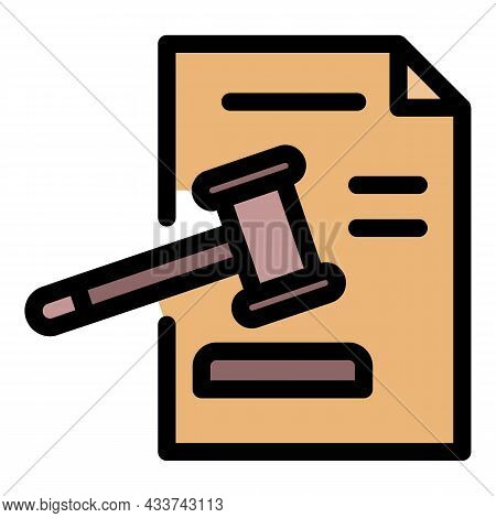 Judge Paper Decision Icon. Outline Judge Paper Decision Vector Icon Color Flat Isolated