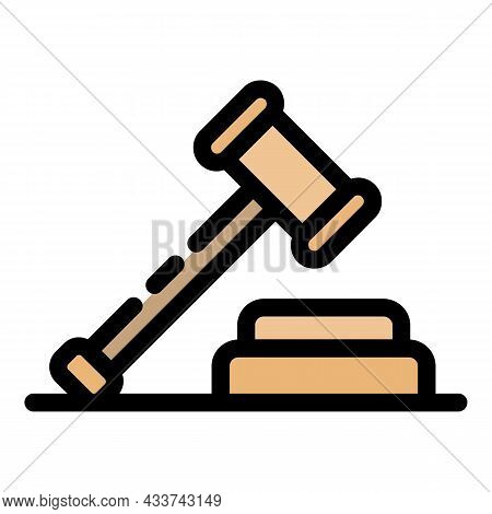 Judge Gavel Icon. Outline Judge Gavel Vector Icon Color Flat Isolated
