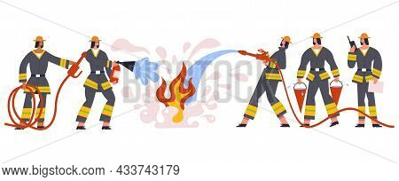 Firefighters Team Characters Rescue And Emergency Service. Firemen Emergency Team Watering Fire, Fig