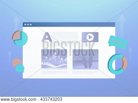 Blog Content Marketing Concept. Digital Blogging Post, Writing Advertising And Selling Content For O