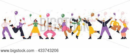 Happy Dancing Celebrating Birthday Party Holiday People. Dancing Festive Characters, Birthday Or New