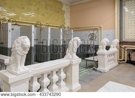 Moscow, Russia - December 19, 2017: Famous Sandunovskiye Bath interior in Moscow. Wellness complex of Sanduny banya, pools and saunas