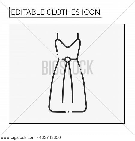 Fashion Line Icon. Drawstring Dress For Dates Or Parties. Fashionable Suit For Woman. Clothes Concep
