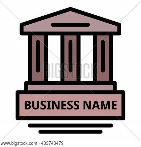 Business Law Building Icon. Outline Business Law Building Vector Icon Color Flat Isolated