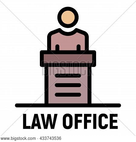 Law Office Icon. Outline Law Office Vector Icon Color Flat Isolated