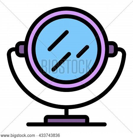 Nail Mirror Icon. Outline Nail Mirror Vector Icon Color Flat Isolated