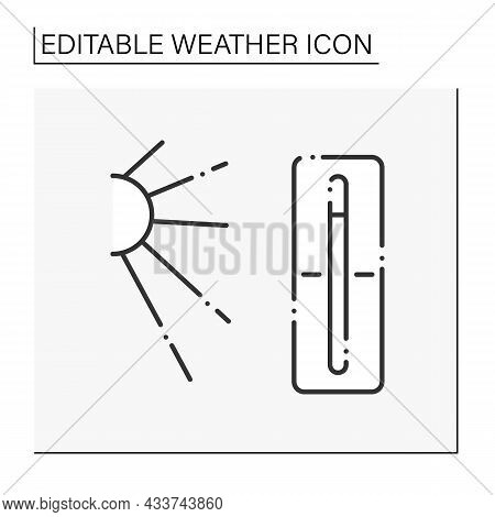 Thermometer Line Icon. Hot Weather Outside. Nice Sunny Day. High Temperature. Swelter . Heat. Summer