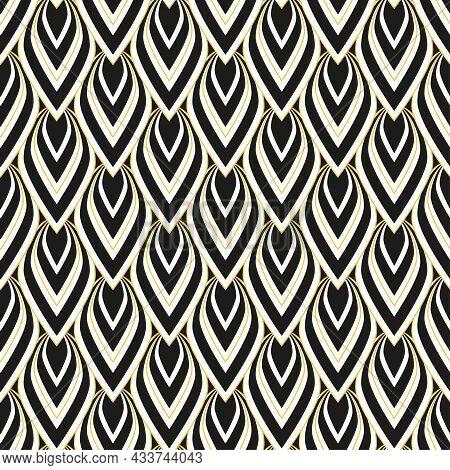 Art Deco Vintage Seamless Pattern. Elegant Geometric Design Background. Art Deco Black, White And Go