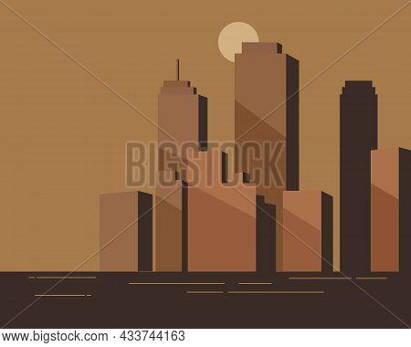Illustration Vector Design Of City Scape Retro Style