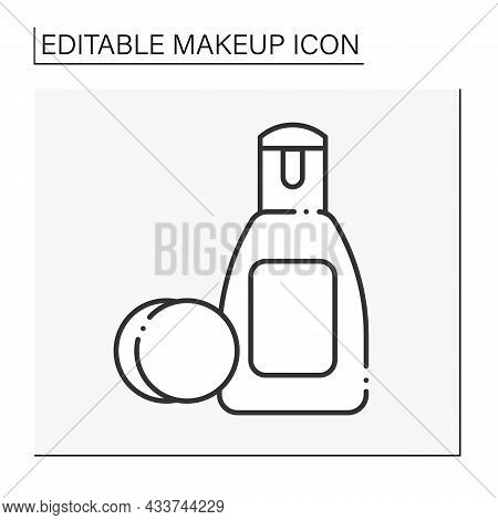 Eye Makeup Remover Line Icon. Delicate Liquid For Clean Eye From Cosmetic.beauty Procedure. Makeup C