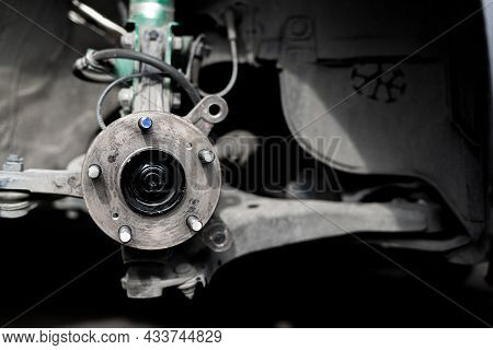 Drive Shaft Of Car,bearing,wheel Bolt And Joint Of Steering Rack Remove For Check Service Work In Ga