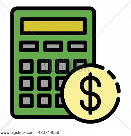 Mortgage Calculation Icon. Outline Mortgage Calculation Vector Icon Color Flat Isolated