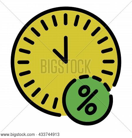 Mortgage Repayment Time Icon. Outline Mortgage Repayment Time Vector Icon Color Flat Isolated