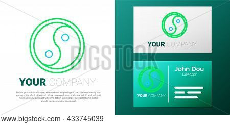 Line Yin Yang Symbol Of Harmony And Balance Icon Isolated On White Background. Colorful Outline Conc