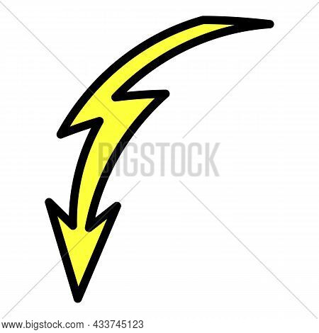 Curved Lightning Icon. Outline Curved Lightning Vector Icon Color Flat Isolated