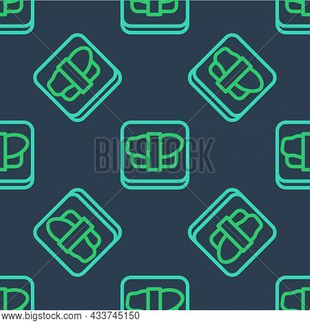 Line Sushi On Cutting Board Icon Isolated Seamless Pattern On Blue Background. Asian Food Sushi On W