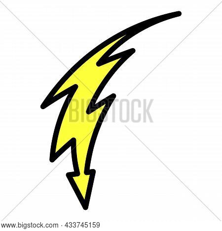 Lightning With An Arrow Icon. Outline Lightning With An Arrow Vector Icon Color Flat Isolated