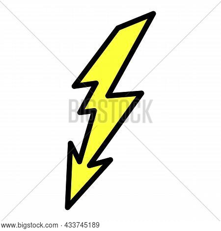 Lightning Discharge Icon. Outline Lightning Discharge Vector Icon Color Flat Isolated