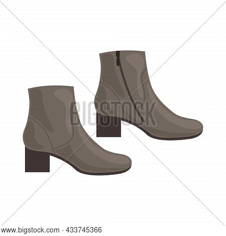 Boots. Stylish Brown Shoes With Heels. Autumn Shoes For Walking In Cold, Wet Weather. Winter Boots.
