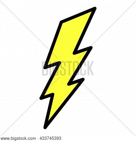 Wide Lightning Icon. Outline Wide Lightning Vector Icon Color Flat Isolated