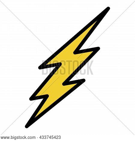 Silhouette Of Lightning Icon. Outline Silhouette Of Lightning Vector Icon Color Flat Isolated
