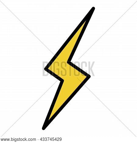 Lightning Contour Icon. Outline Lightning Contour Vector Icon Color Flat Isolated